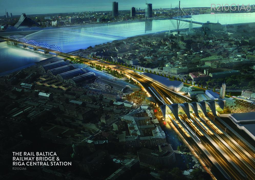 """Rail Baltica сделает Риге красиво: 60 """"ВАУ!""""-эскизов нового вокзала и ж/д моста"""