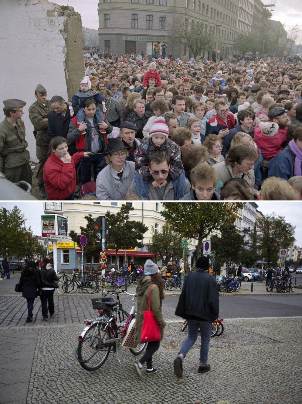 """28 лет с падения Берлинской стены — 15 сильных фотографий в стиле """"тогда и сейчас"""""""