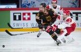 Vācijas hokejisti saspringtā mačā pieveic Dānijas izlasi
