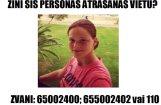 Likumsargi lūdz palīdzību pazudušas jaunietes meklēšanā