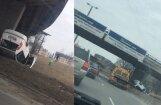 ВИДЕО: Под Островным мостом перевернулась машина; водителя на месте не оказалось