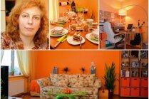 Ciemos: Koši oranžs dzīvoklis ar skatu pāri jumtiem uz Mārupes panorāmu