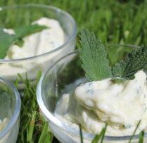 Jogurta saldējums ar rabarberiem un piparmētrām