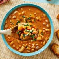 Постный суп-пюре с фасолью