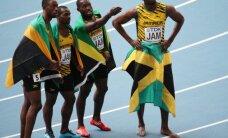 Jamaikas sprinteri ar Boltu priekšgalā pārliecinoši triumfē pasaules čempionāta 4x100 metru stafetē