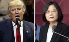 Ķīna Trampa un Taivānas prezidentes telefonsarunu skaidro kā Taivānas 'triku'
