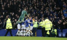 Everton Ademola Lookman celebrates goal to Man City