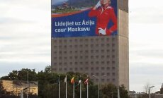 Rīdzinieki sašutuši par 'Aeroflot' reklāmu uz Preses nama