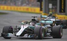 Hamiltons izcīna uzvaru F-1 sezonas pirmā posma kvalifikācijā; avarē Botass