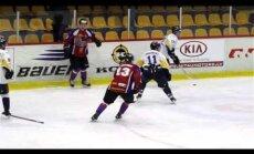Video: 'Kurbads' Latvijas hokeja virslīgas spēlē pārspēj HK 'Zemgale'