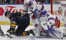 Buffalo Sabres Zemus Girgensons vs Rangers Brady Skjei, Henrik Lunqvist