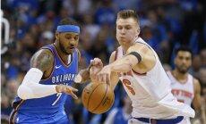 Porziņģa ēra Ņujorkas 'Knicks' sākas ar iespaidīgu sniegumu un zaudējumu Entonijam un 'Thunder'