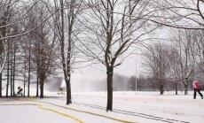 Video: Uzvaras parkā jau var slēpot, Lucavsalā trase vēl top