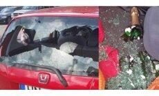 Foto: Bagāžniekā atstāta šampanieša pudele sprāgstot izsit vējstiklu