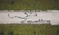 Rumbulā 'Audi' fani ar saviem spēkratiem izveidojuši 'quattro' logotipu