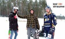 Video: Kurš ledus trasē ātrāks – hokejists Zolmanis uz slidām vai Šlēgelmilhs ar kartingu?