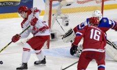 Danish Emil Christiansen scores Russian Vladislav Kamenev and goalkepper Alexander Georgiev