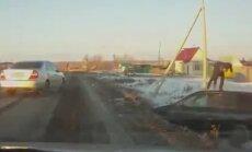 Video: Autovadītājs Krievijā taranē citu braucēju un dabū trūkties