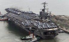 Dienvidkorejā uz militārajām mācībām ieradies ASV lidmašīnu bāzes kuģis