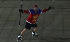 Foto: Krievijā līksmo par hokejistu uzvaru pasaules hokeja čempionātā