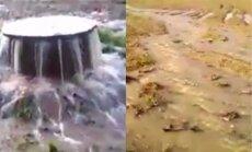 Video: Gaviezes pagastā 'geizers akā' appludina laukus