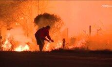 Video: Kalifornijā pašaizliedzīgs vīrietis no uguns liesmām izglābj trusīti
