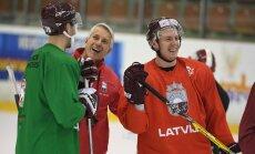 Foto: Latvijas hokeja izlases treniņš pirms došanās uz Daugavpili