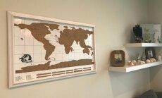 Iedvesmai: pasaules karte pie sienas kā atgādinājums par skaistiem ceļojumiem