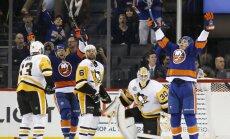 Islanders Anders Lee, Josh Bailey vs Pittsburgh Penguins goalie Matt Murray