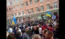 Harkovā uzbrukumā Ukrainas atbalstītāju mītiņam 14 cietušie