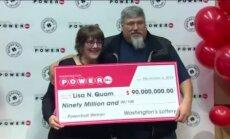 Amerikāniete loterijā laimē 90 miljonus; pametīs darbu un pirks 'Subaru'