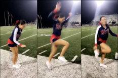 """ВИДЕО: Люди ломают ноги, пытаясь повторить трюк с """"левитацией"""" чирлидерши"""