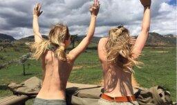 Puskailas britu daiļavas biedē safari zvērus