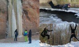 Ledus ūdenskritumi un asas izjūtas – ekstrēmā ekspedīcija Gaujas Nacionālajā parkā