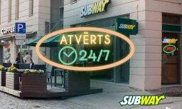 Ресторан SUBWAY на Грециниеку 11а работает 24 часа 7 дней в неделю