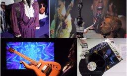 Foto: Augstpapēdenes, ģitāras un purpura lietus – Londonā atklāta pirmā izstāde Prinsa piemiņai