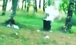 Video: Saldū huligāni dižojas ar atkritumu kastu spridzināšanu