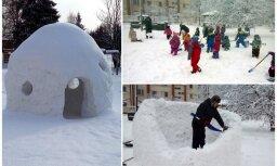 Sagādāt prieku mazākajiem – vīrietis bērniem uzbūvē skaistu sniega mājiņu