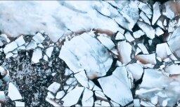 Māksliniecisks video: Daugavā pie Pļaviņām iet ledus
