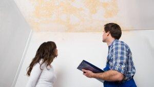 Kā rīkoties, ja appludināti rīģipša griesti un sienas?