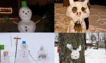 Zaķi, Olafi un brašas ģimenes – 'Delfi' lasītāji uzveļ amizantus sniegavīrus
