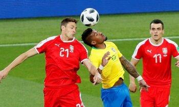 Brazīlijas un Šveices futbolisti sasniedz Pasaules kausa astotdaļfinālu