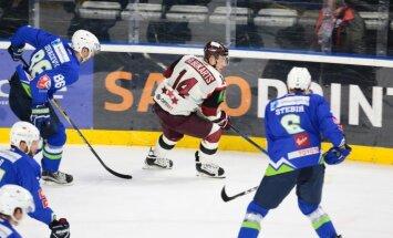 Divi Zīles vārti palīdz Latvijas hokeja izlasei uzvarēt Slovēniju