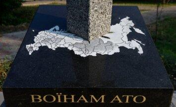 Krievijas kartē iedurts zobens: Kijevā atklāts piemineklis kara dalībniekiem
