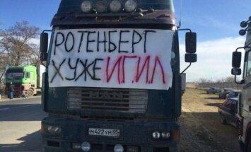 Krievijas kravas auto šoferi protestē pret ceļu maksas sistēmu 'Platon'