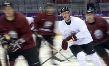 Latvijas hokeja izlase pirmo treniņu Sočos aizvada nemainīgos virknējumos