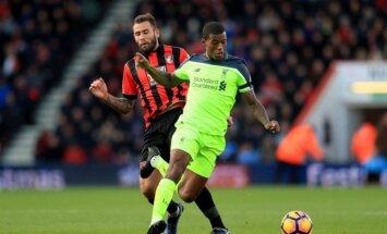 'Liverpool' nespēj nosargāt divu vārtu pārsvaru un negaidīti zaudē 'Bournemouth' futbolistiem