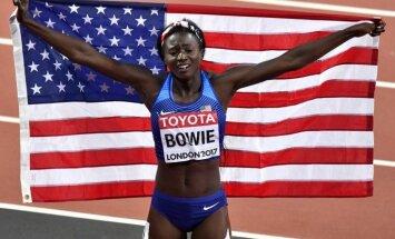 Amerikāniete Bovija kļūst par pasaules čempioni 100 metru sprintā