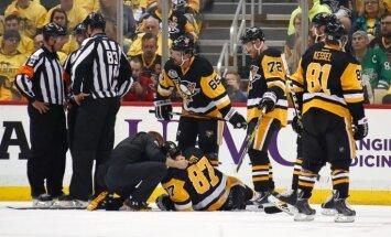 Krosbijs gūst savainojumu; 'Capitals' izcīna pirmo uzvaru sērijā pret 'Penguins'