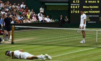 Raoničs uzvar Federeru un pirmoreiz karjerā sasniedz 'Grand Slam' turnīra finālu